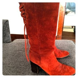 Size 6.5 coach vintage red suede knee high boots